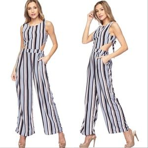JUMPSUIT striped wide legged pants Blue